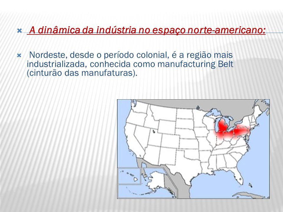  A dinâmica da indústria no espaço norte-americano:  Nordeste, desde o período colonial, é a região mais industrializada, conhecida como manufacturing Belt (cinturão das manufaturas).
