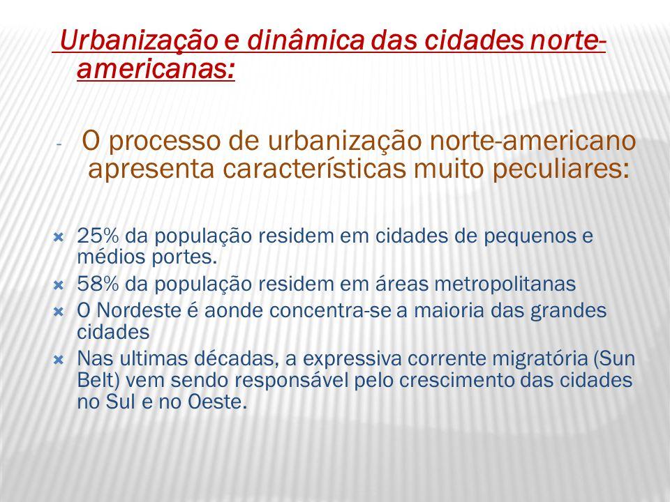 Urbanização e dinâmica das cidades norte- americanas: - O processo de urbanização norte-americano apresenta características muito peculiares:  25% da população residem em cidades de pequenos e médios portes.