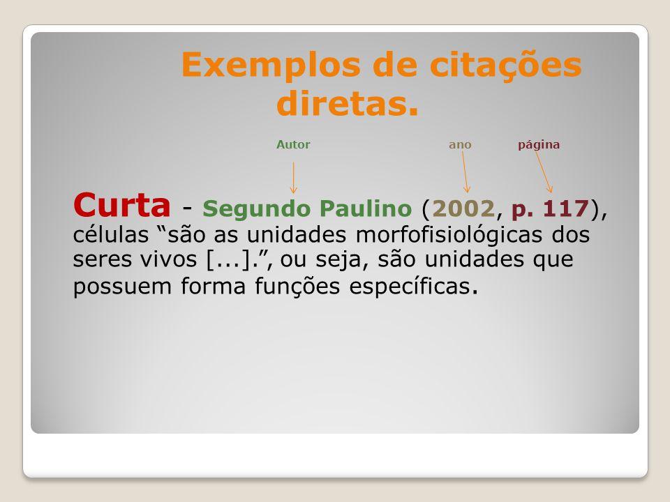 Exemplos de citações diretas.Autor ano página Curta - Segundo Paulino (2002, p.