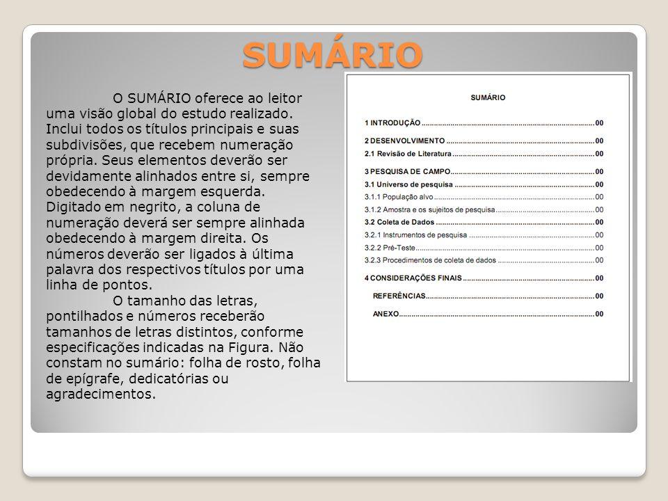 SUMÁRIO O SUMÁRIO oferece ao leitor uma visão global do estudo realizado.