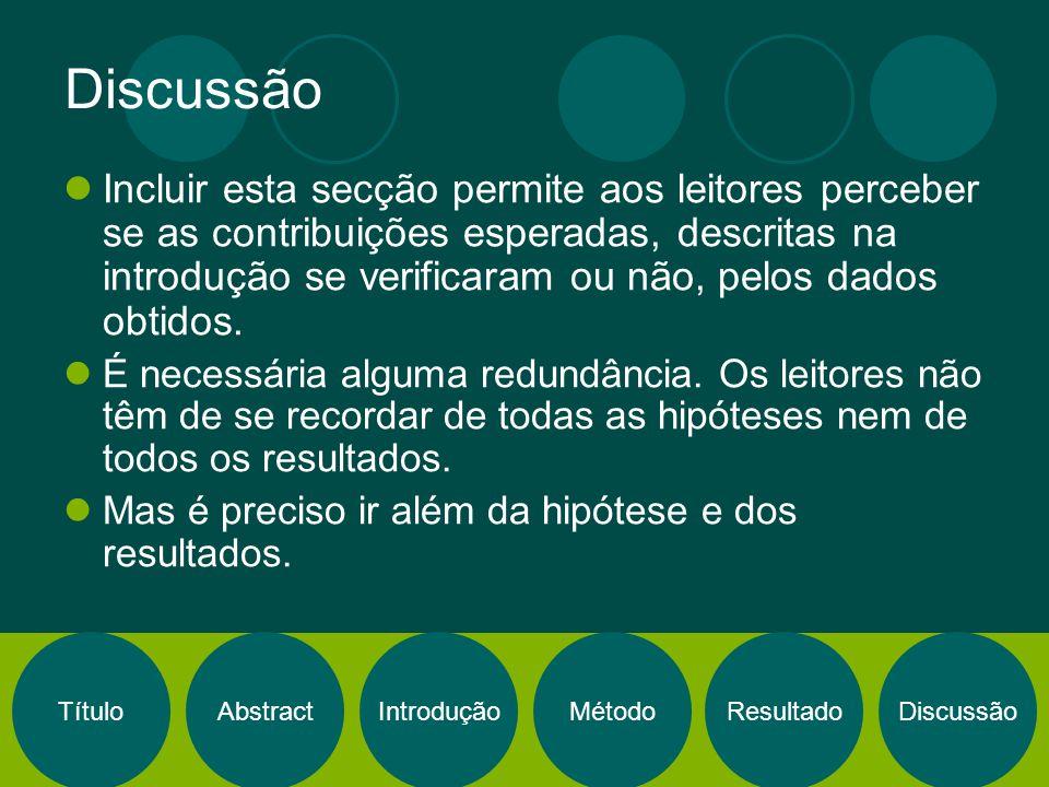 TítuloAbstractIntroduçãoMétodoResultadoDiscussão Incluir esta secção permite aos leitores perceber se as contribuições esperadas, descritas na introdu