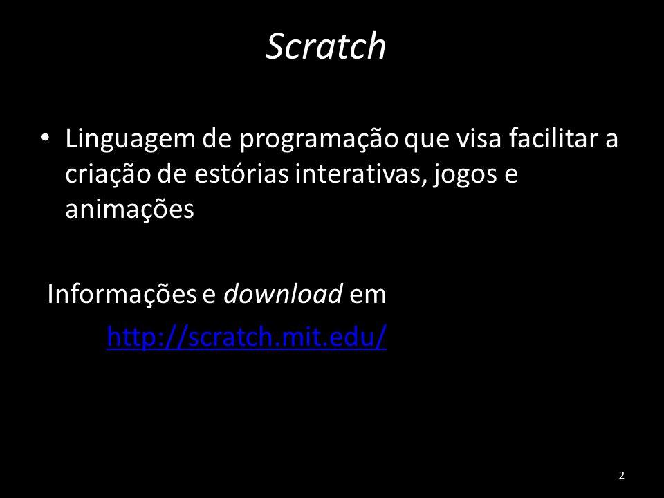 Scratch Linguagem de programação que visa facilitar a criação de estórias interativas, jogos e animações Informações e download em http://scratch.mit.
