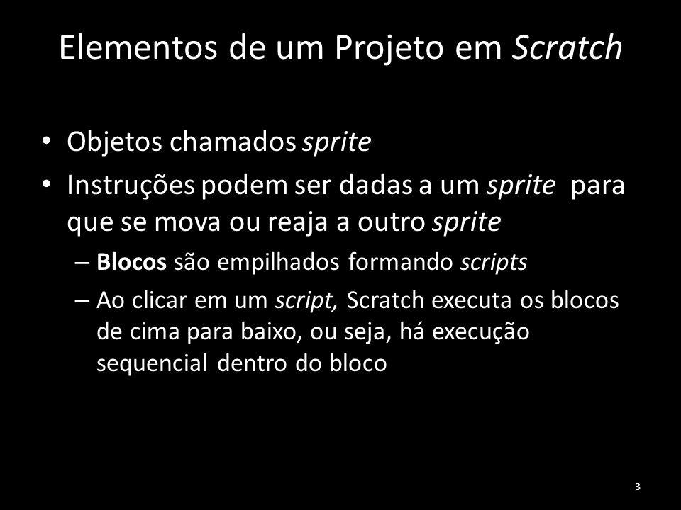 Elementos de um Projeto em Scratch Objetos chamados sprite Instruções podem ser dadas a um sprite para que se mova ou reaja a outro sprite – Blocos são empilhados formando scripts – Ao clicar em um script, Scratch executa os blocos de cima para baixo, ou seja, há execução sequencial dentro do bloco 3