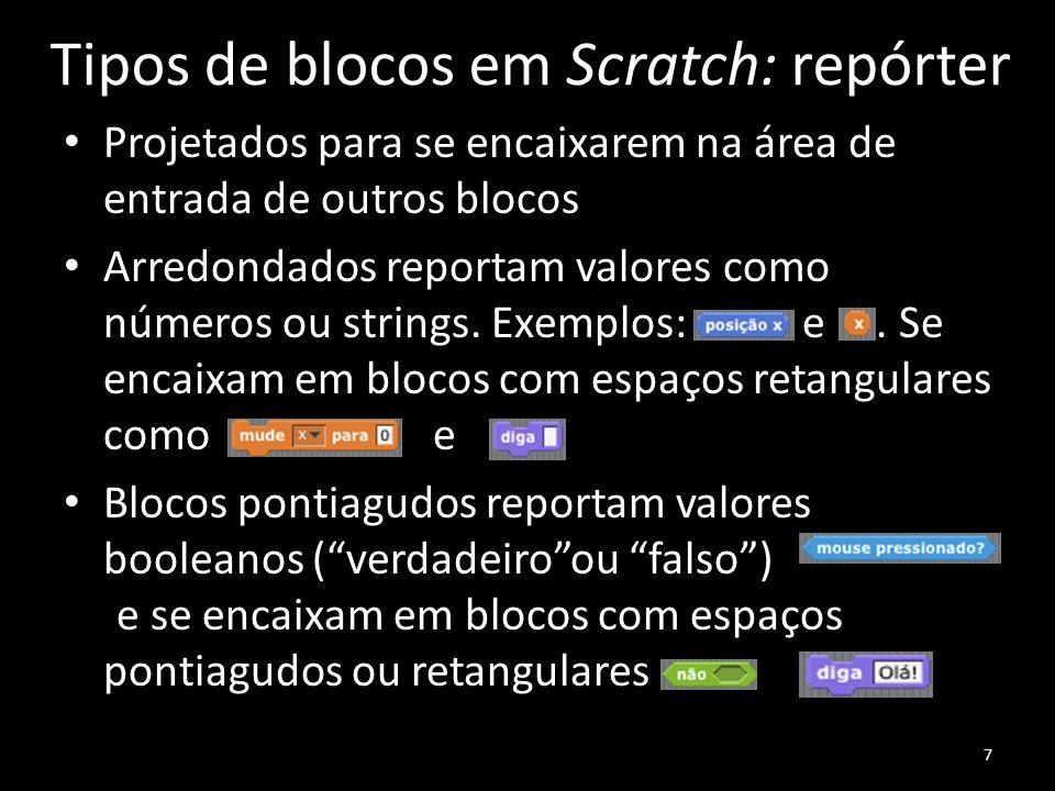 Tipos de blocos em Scratch: repórter Projetados para se encaixarem na área de entrada de outros blocos Arredondados reportam valores como números ou strings.