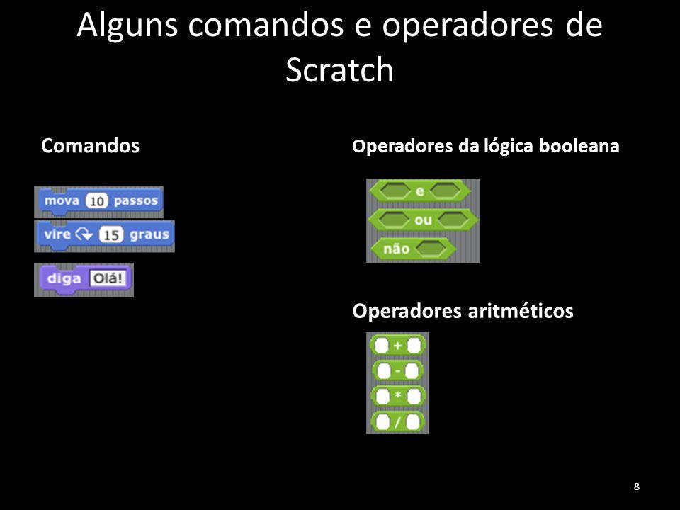 Alguns comandos e operadores de Scratch Comandos Operadores da lógica booleana Operadores aritméticos 8
