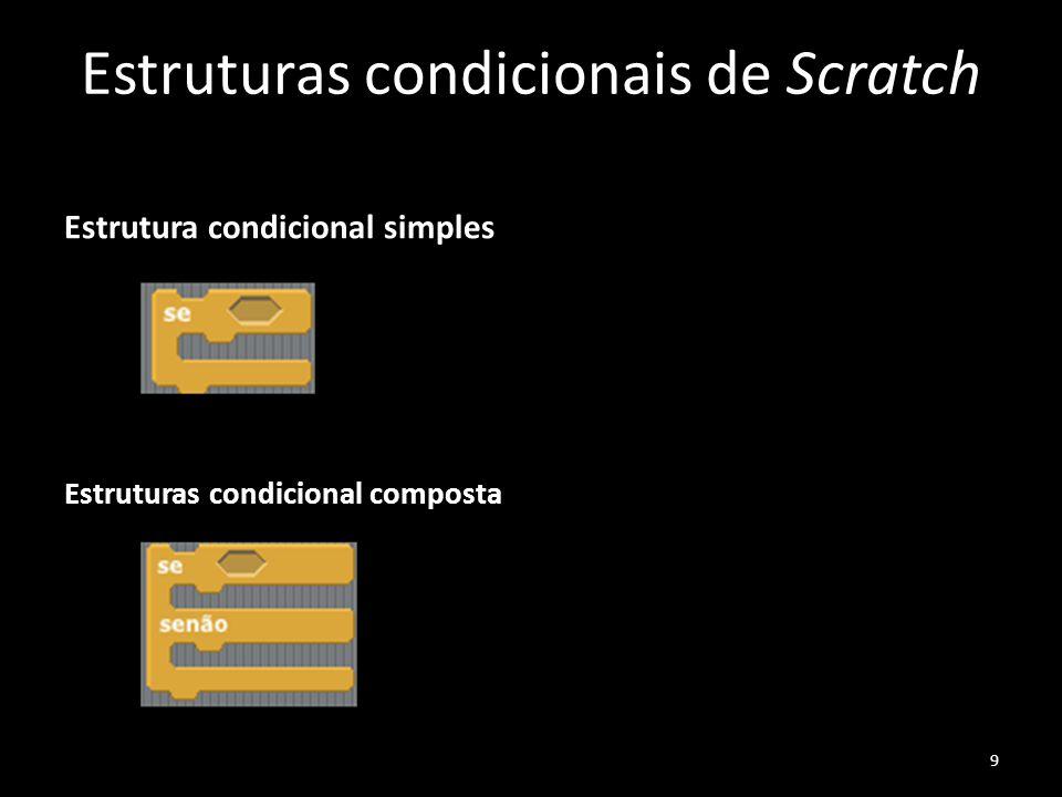 Estruturas condicionais de Scratch Estrutura condicional simples Estruturas condicional composta 9