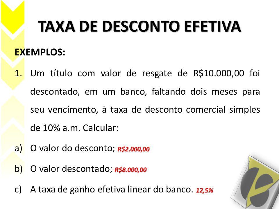 TAXA DE DESCONTO EFETIVA EXEMPLOS: 1.Um título com valor de resgate de R$10.000,00 foi descontado, em um banco, faltando dois meses para seu venciment