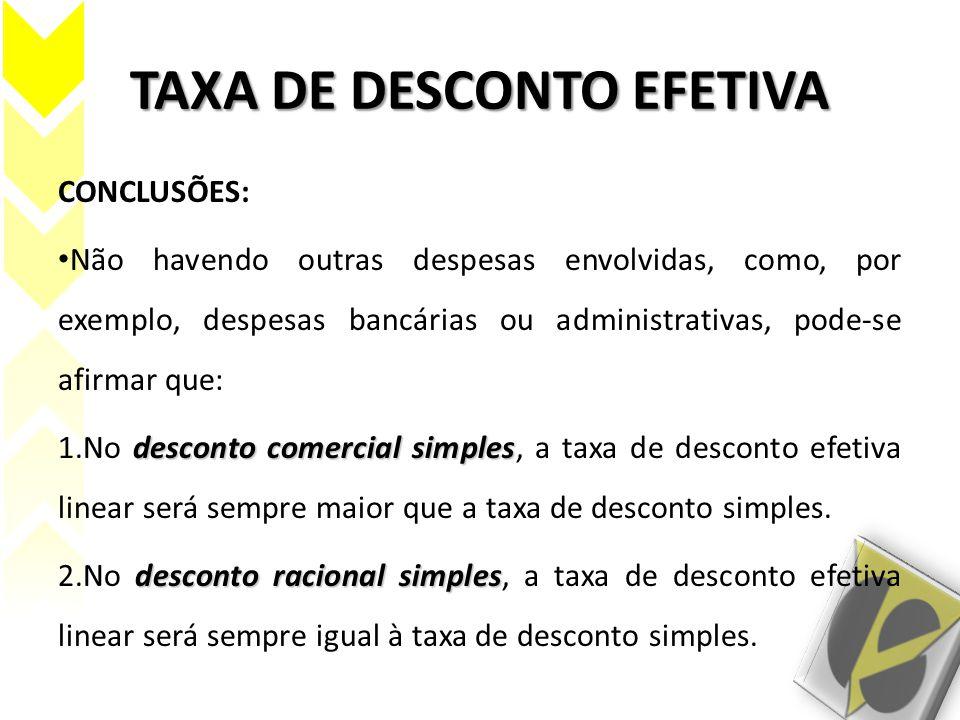 TAXA DE DESCONTO EFETIVA CONCLUSÕES: Não havendo outras despesas envolvidas, como, por exemplo, despesas bancárias ou administrativas, pode-se afirmar