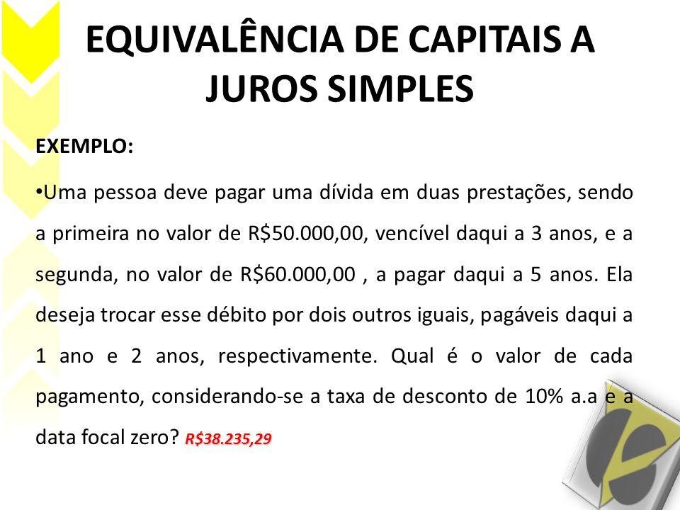 EQUIVALÊNCIA DE CAPITAIS A JUROS SIMPLES EXEMPLO: R$38.235,29 Uma pessoa deve pagar uma dívida em duas prestações, sendo a primeira no valor de R$50.0