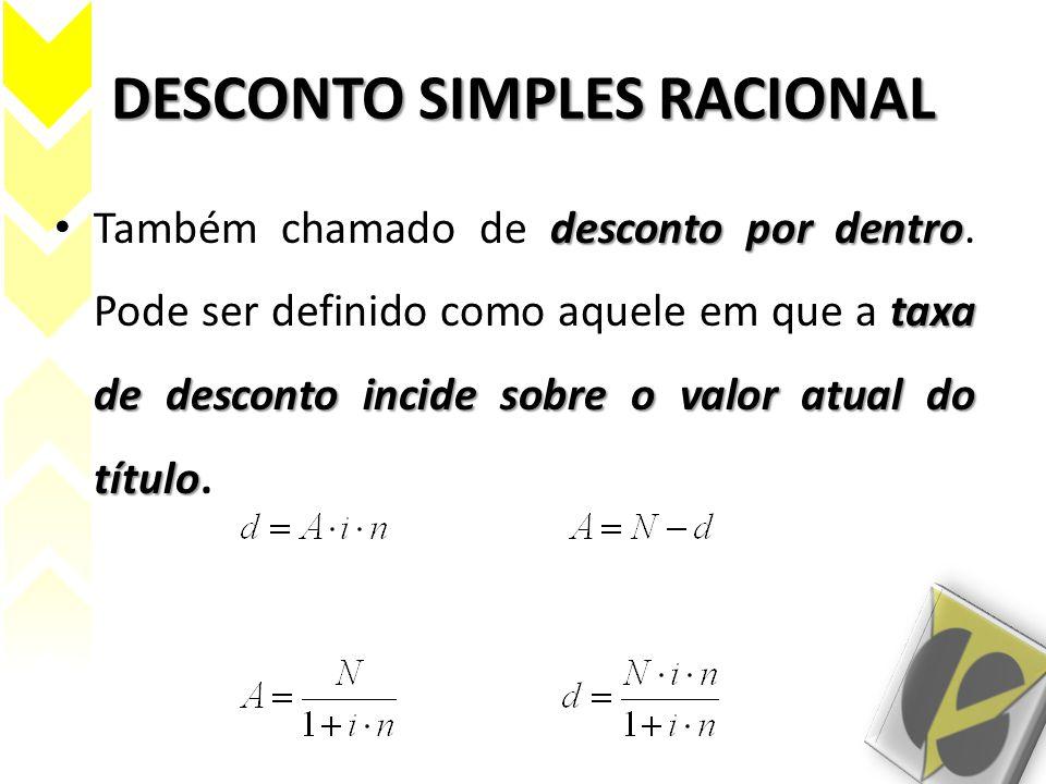 DESCONTO RACIONAL EXEMPLOS R$61.875,00 1.O valor do desconto de uma nota promissória é R$15.000,00.