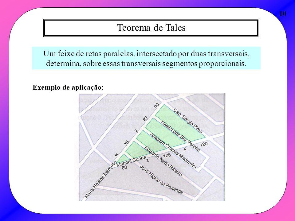 Teorema de Tales 10 Um feixe de retas paralelas, intersectado por duas transversais, determina, sobre essas transversais segmentos proporcionais. Exem