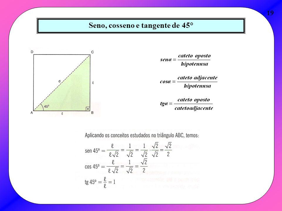 Seno, cosseno e tangente de 45° 19