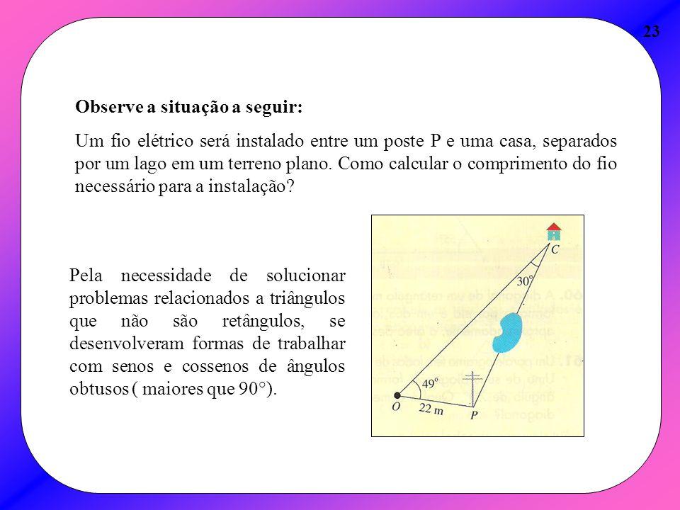 23 Observe a situação a seguir: Um fio elétrico será instalado entre um poste P e uma casa, separados por um lago em um terreno plano. Como calcular o