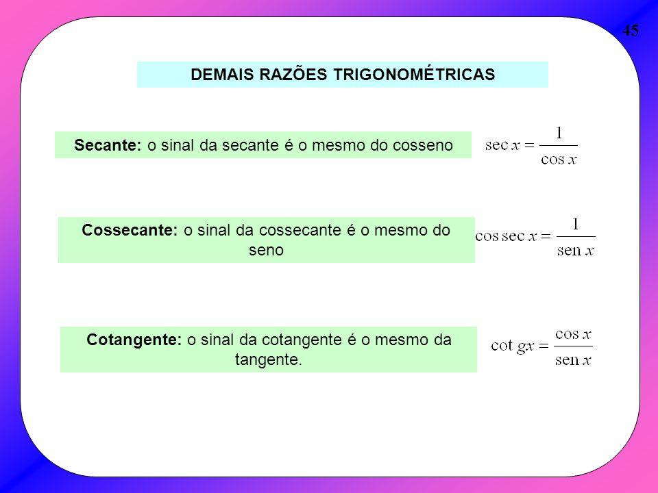 45 DEMAIS RAZÕES TRIGONOMÉTRICAS Secante: o sinal da secante é o mesmo do cosseno Cossecante: o sinal da cossecante é o mesmo do seno Cotangente: o si