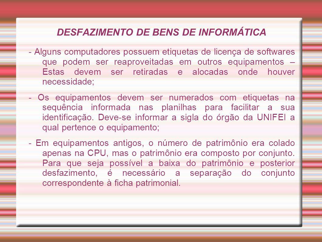 DESFAZIMENTO DE BENS DE INFORMÁTICA - Alguns computadores possuem etiquetas de licença de softwares que podem ser reaproveitadas em outros equipamento