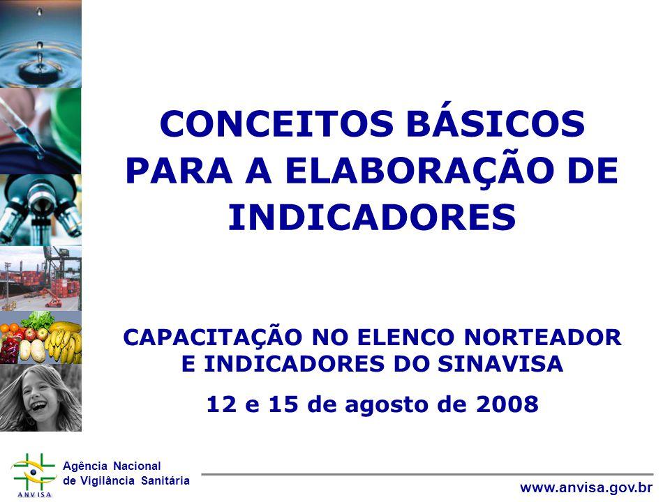 Agência Nacional de Vigilância Sanitária www.anvisa.gov.br CONCEITOS BÁSICOS PARA A ELABORAÇÃO DE INDICADORES CAPACITAÇÃO NO ELENCO NORTEADOR E INDICADORES DO SINAVISA 12 e 15 de agosto de 2008