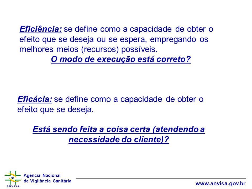 Agência Nacional de Vigilância Sanitária www.anvisa.gov.br Eficiência: se define como a capacidade de obter o efeito que se deseja ou se espera, empre