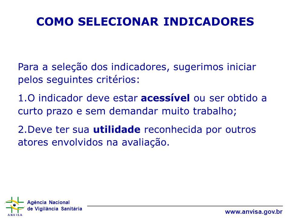 Agência Nacional de Vigilância Sanitária www.anvisa.gov.br COMO SELECIONAR INDICADORES Para a seleção dos indicadores, sugerimos iniciar pelos seguint