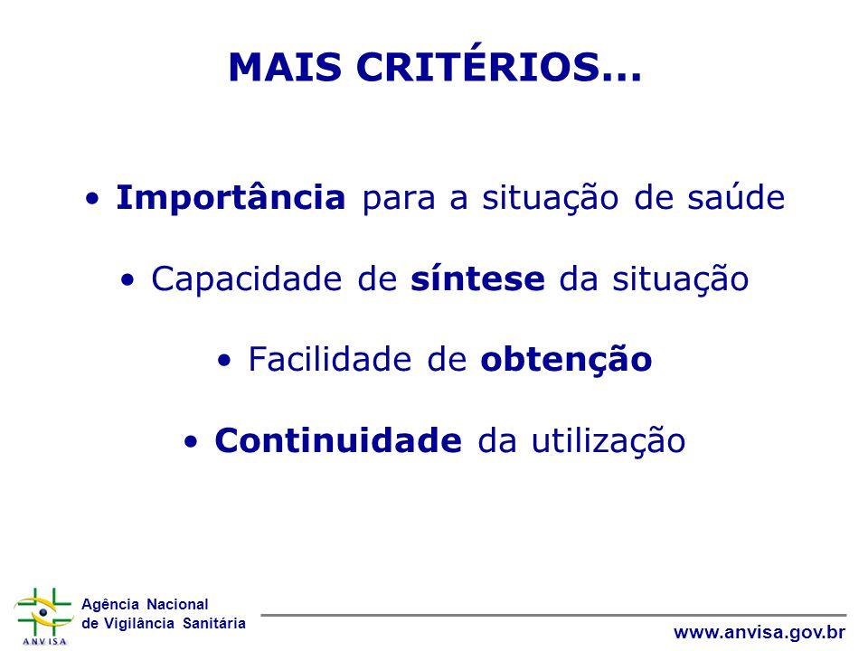 Agência Nacional de Vigilância Sanitária www.anvisa.gov.br MAIS CRITÉRIOS... Importância para a situação de saúde Capacidade de síntese da situação Fa