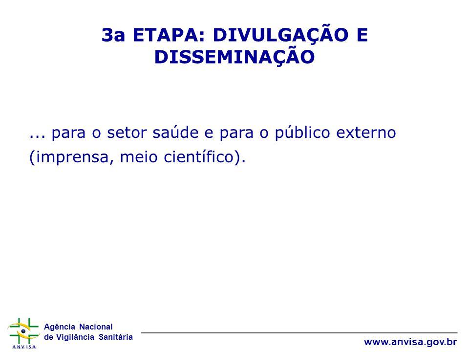 Agência Nacional de Vigilância Sanitária www.anvisa.gov.br... para o setor saúde e para o público externo (imprensa, meio científico). 3a ETAPA: DIVUL