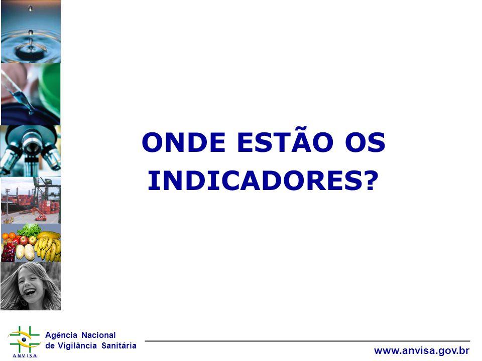 Agência Nacional de Vigilância Sanitária www.anvisa.gov.br ONDE ESTÃO OS INDICADORES?