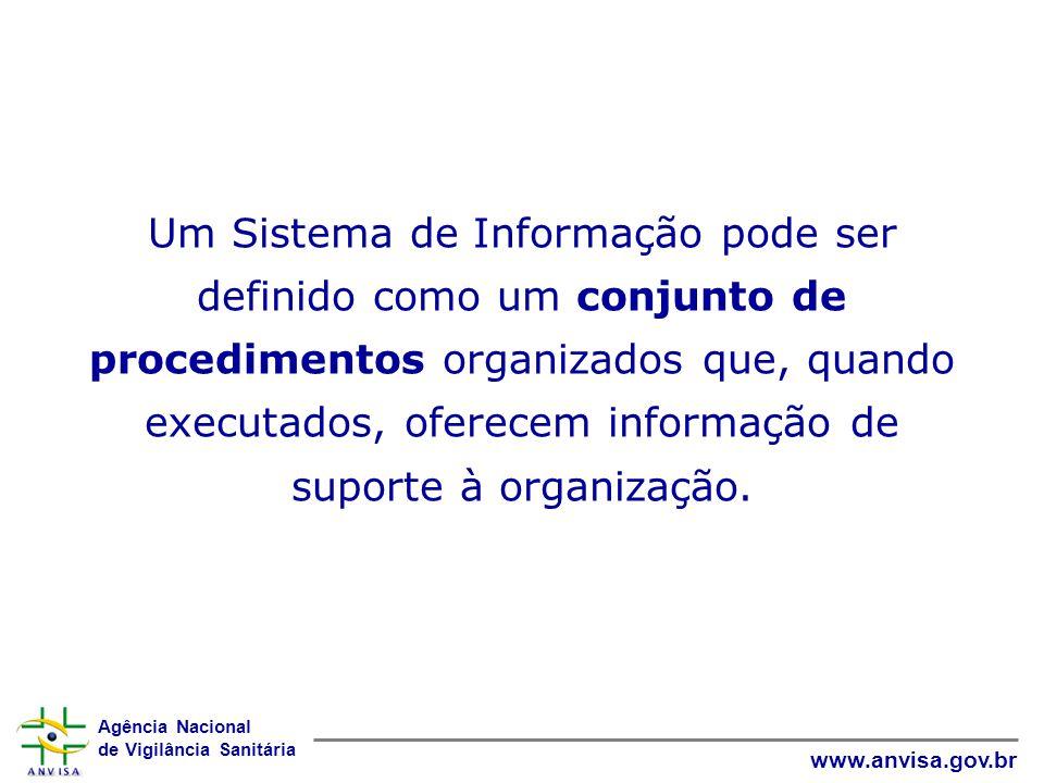 Agência Nacional de Vigilância Sanitária www.anvisa.gov.br Um Sistema de Informação pode ser definido como um conjunto de procedimentos organizados qu