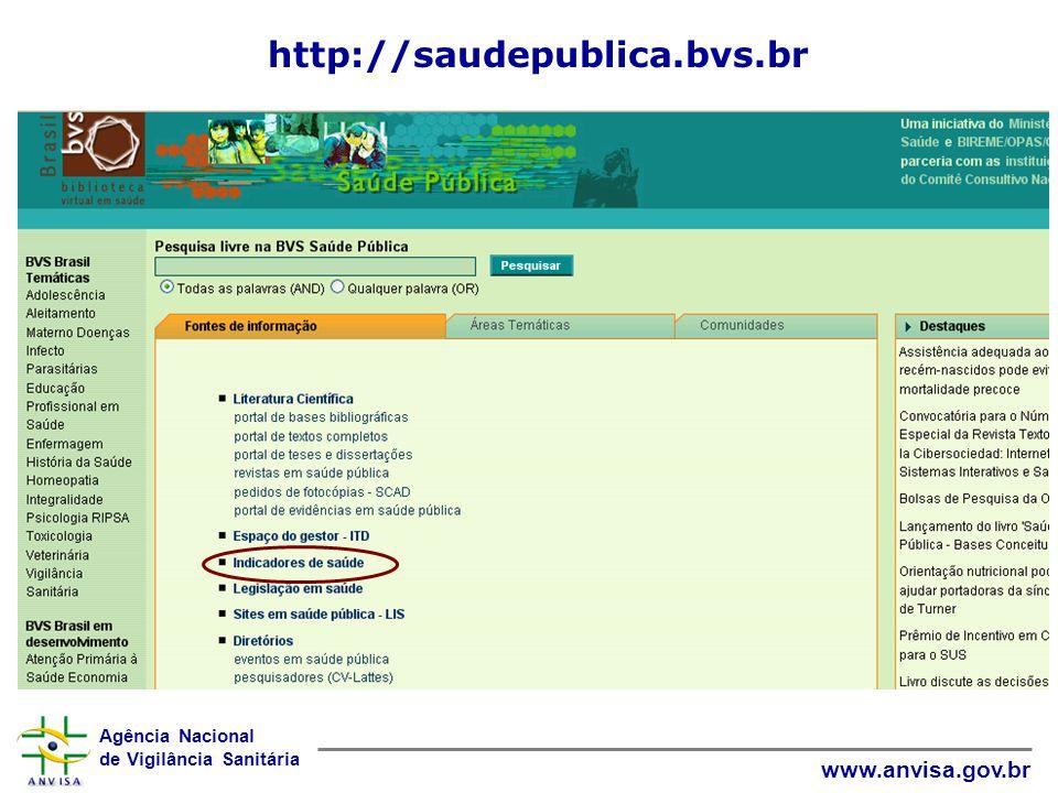 Agência Nacional de Vigilância Sanitária www.anvisa.gov.br http://saudepublica.bvs.br