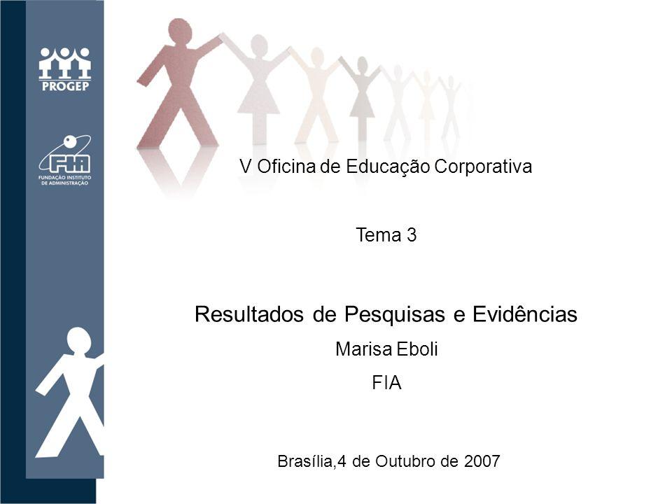 V Oficina de Educação Corporativa Brasília,4 de Outubro de 2007 Tema 3 Resultados de Pesquisas e Evidências Marisa Eboli FIA