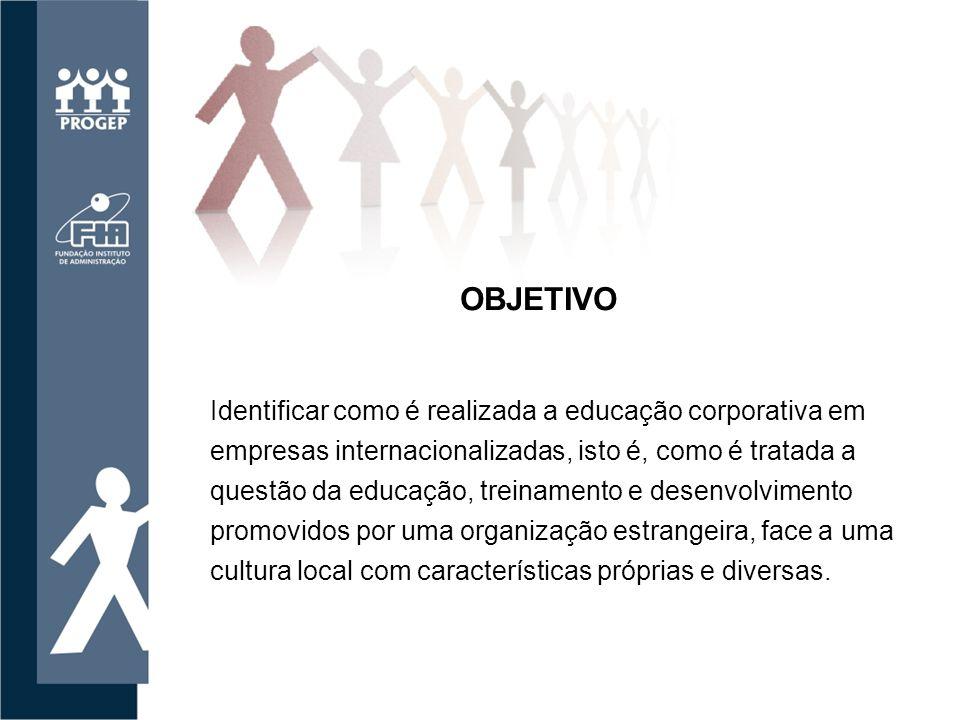 Identificar como é realizada a educação corporativa em empresas internacionalizadas, isto é, como é tratada a questão da educação, treinamento e desenvolvimento promovidos por uma organização estrangeira, face a uma cultura local com características próprias e diversas.