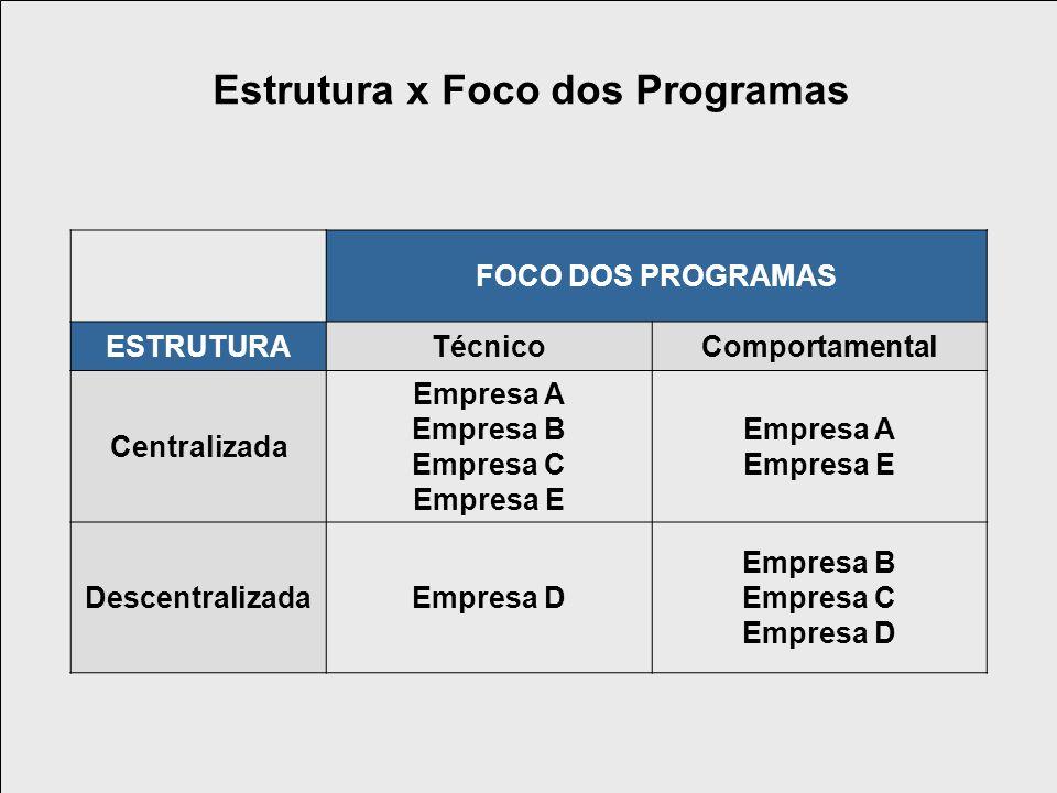 FOCO DOS PROGRAMAS ESTRUTURATécnicoComportamental Centralizada Empresa A Empresa B Empresa C Empresa E Empresa A Empresa E DescentralizadaEmpresa D Empresa B Empresa C Empresa D Estrutura x Foco dos Programas
