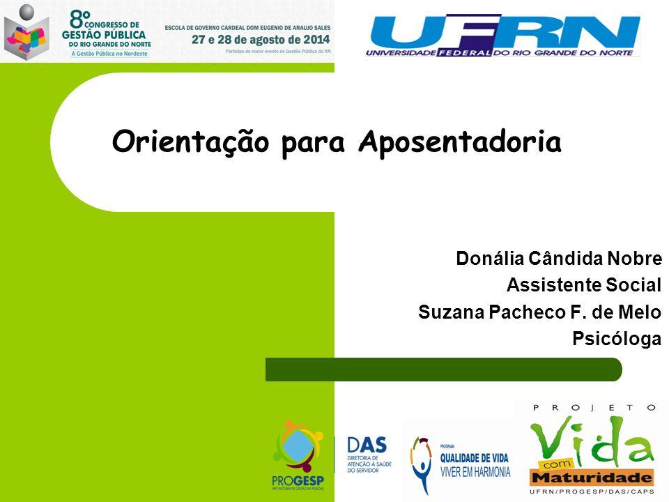 Orientação para Aposentadoria Donália Cândida Nobre Assistente Social Suzana Pacheco F.