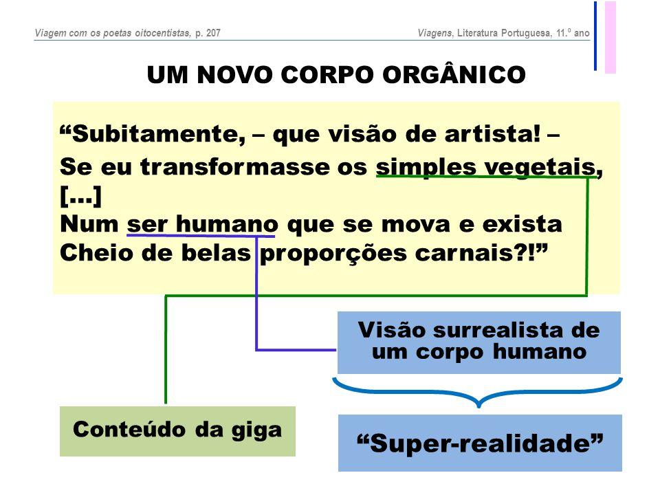 """UM NOVO CORPO ORGÂNICO """"Subitamente, – que visão de artista! – Se eu transformasse os simples vegetais, […] Num ser humano que se mova e exista Cheio"""