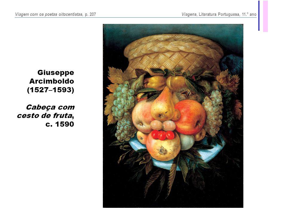 Giuseppe Arcimboldo (1527–1593) Cabeça com cesto de fruta, c. 1590 Viagem com os poetas oitocentistas, p. 207 Viagens, Literatura Portuguesa, 11.º ano