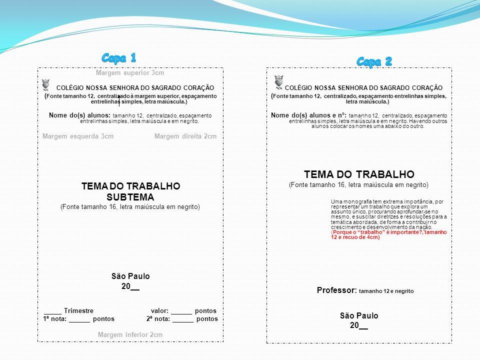 Margem superior 3cm COLÉGIO NOSSA SENHORA DO SAGRADO CORAÇÃO ( Fonte tamanho 12, centralizado à margem superior, espaçamento entrelinhas simples, letr