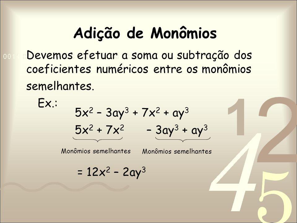 Multiplicação de Monômios O produto de monômios é obtido da seguinte forma: em seguida, multiplicam-se as partes literais.