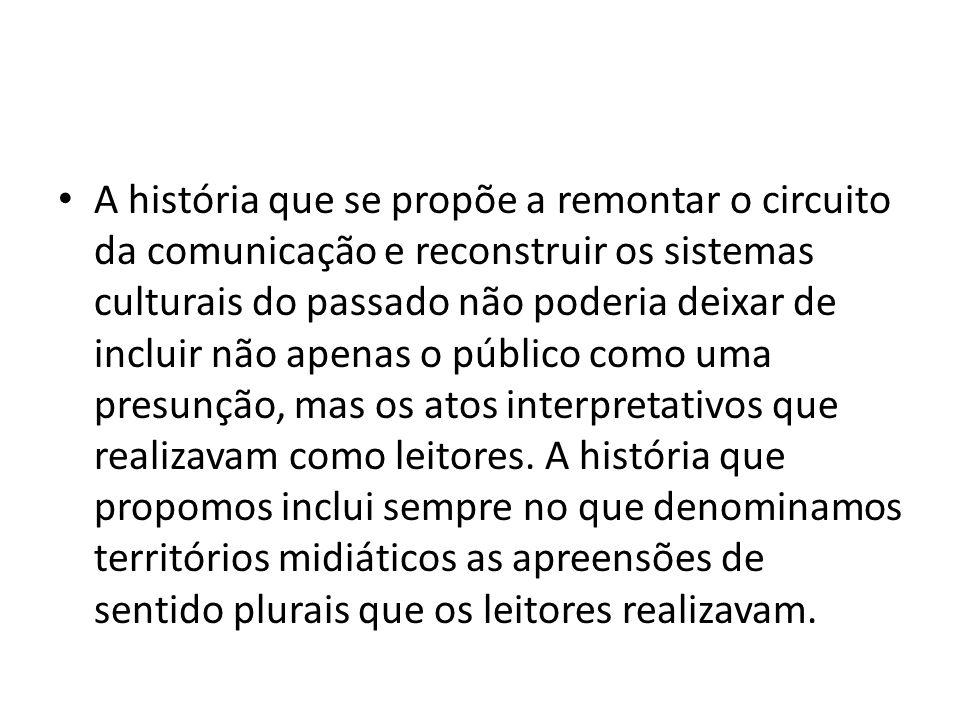 A história que se propõe a remontar o circuito da comunicação e reconstruir os sistemas culturais do passado não poderia deixar de incluir não apenas o público como uma presunção, mas os atos interpretativos que realizavam como leitores.