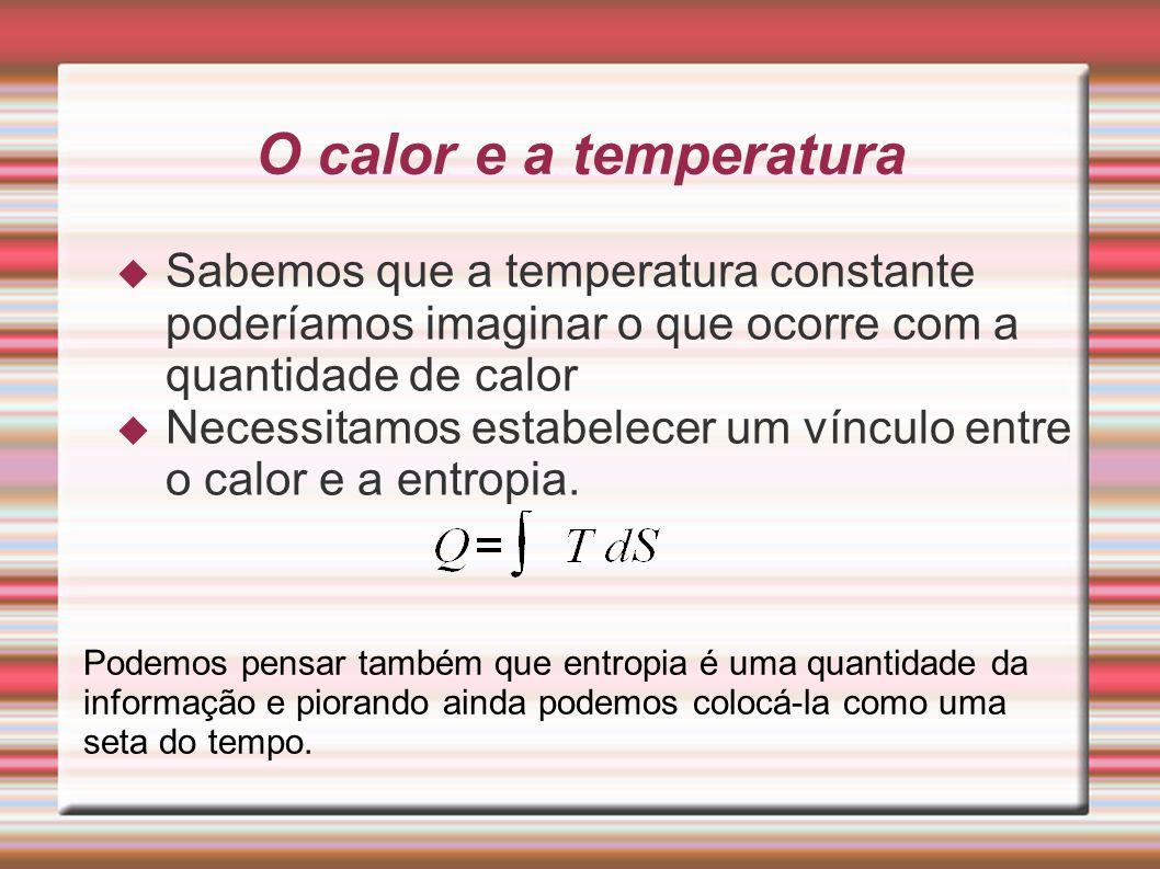 O calor e a temperatura  Sabemos que a temperatura constante poderíamos imaginar o que ocorre com a quantidade de calor  Necessitamos estabelecer um