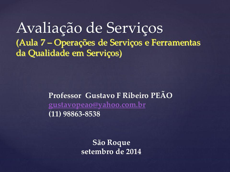 Avaliação de Serviços (Aula 7 – Operações de Serviços e Ferramentas da Qualidade em Serviços) Professor Gustavo F Ribeiro PEÃO gustavopeao@yahoo.com.br (11) 98863-8538 São Roque setembro de 2014