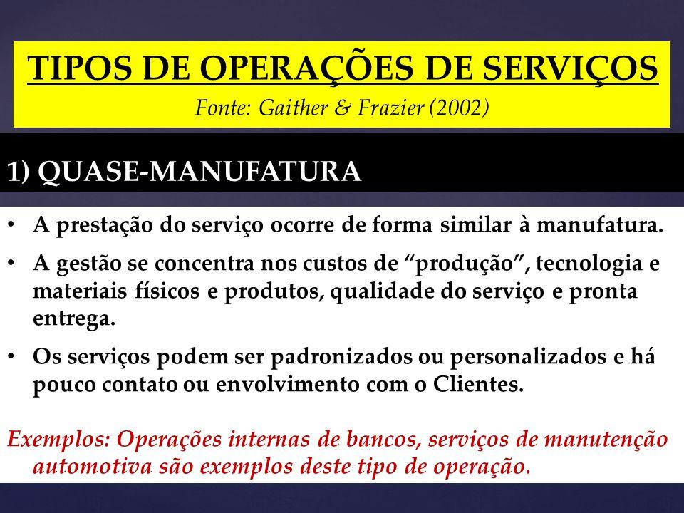 TIPOS DE OPERAÇÕES DE SERVIÇOS Fonte: Gaither & Frazier (2002) 1) QUASE-MANUFATURA A prestação do serviço ocorre de forma similar à manufatura.