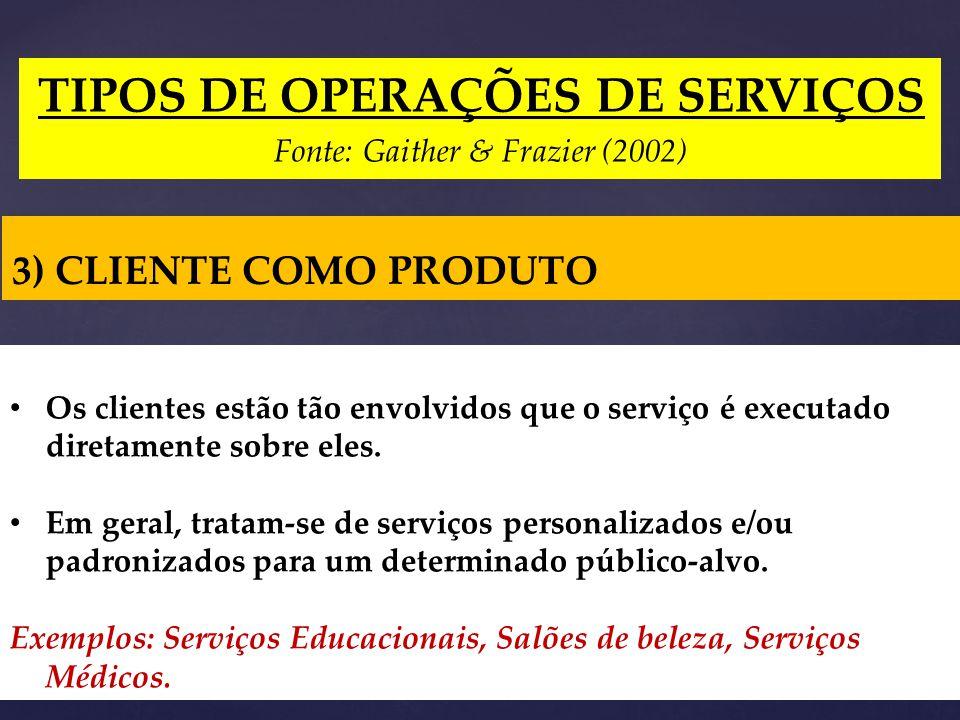TIPOS DE OPERAÇÕES DE SERVIÇOS Fonte: Gaither & Frazier (2002) 3) CLIENTE COMO PRODUTO Os clientes estão tão envolvidos que o serviço é executado diretamente sobre eles.