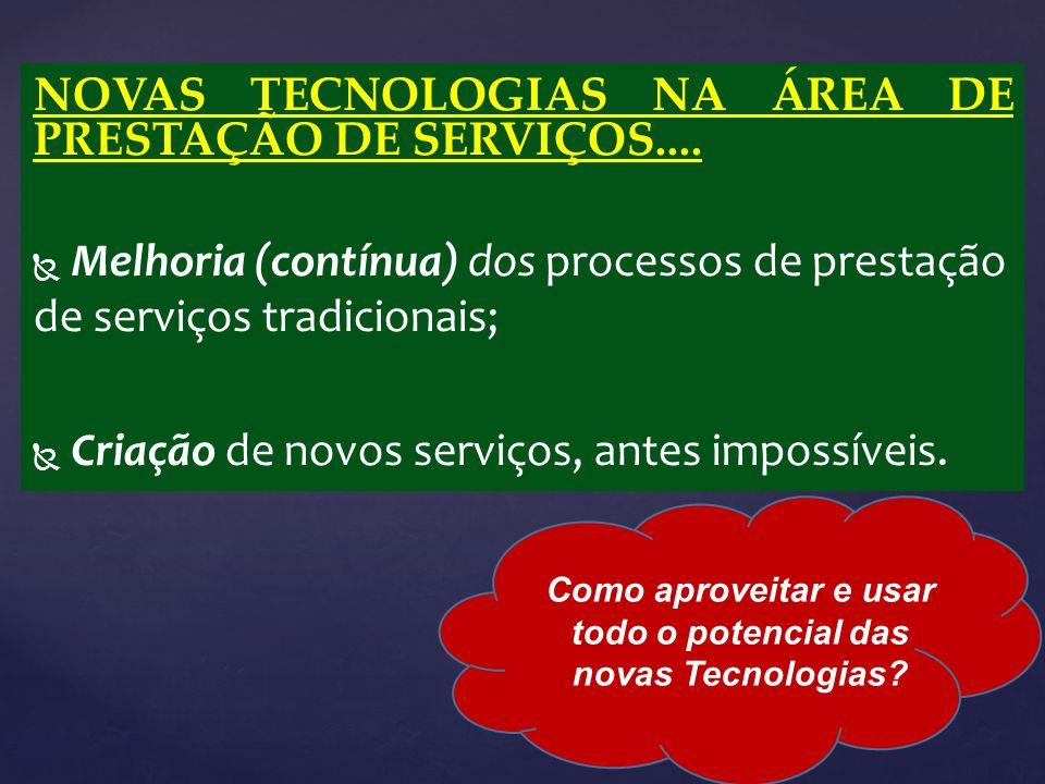 NOVAS TECNOLOGIAS NA ÁREA DE PRESTAÇÃO DE SERVIÇOS....