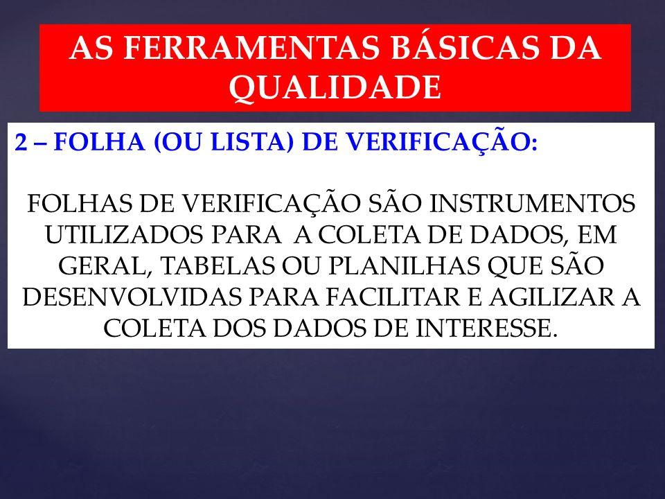 AS FERRAMENTAS BÁSICAS DA QUALIDADE 2 – FOLHA (OU LISTA) DE VERIFICAÇÃO: FOLHAS DE VERIFICAÇÃO SÃO INSTRUMENTOS UTILIZADOS PARA A COLETA DE DADOS, EM GERAL, TABELAS OU PLANILHAS QUE SÃO DESENVOLVIDAS PARA FACILITAR E AGILIZAR A COLETA DOS DADOS DE INTERESSE.