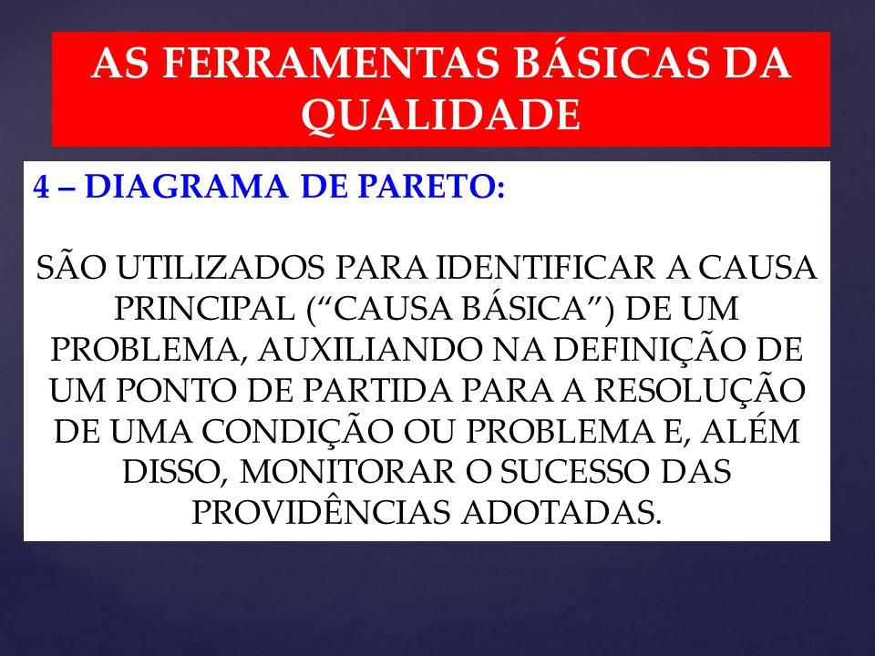 AS FERRAMENTAS BÁSICAS DA QUALIDADE 4 – DIAGRAMA DE PARETO: SÃO UTILIZADOS PARA IDENTIFICAR A CAUSA PRINCIPAL ( CAUSA BÁSICA ) DE UM PROBLEMA, AUXILIANDO NA DEFINIÇÃO DE UM PONTO DE PARTIDA PARA A RESOLUÇÃO DE UMA CONDIÇÃO OU PROBLEMA E, ALÉM DISSO, MONITORAR O SUCESSO DAS PROVIDÊNCIAS ADOTADAS.