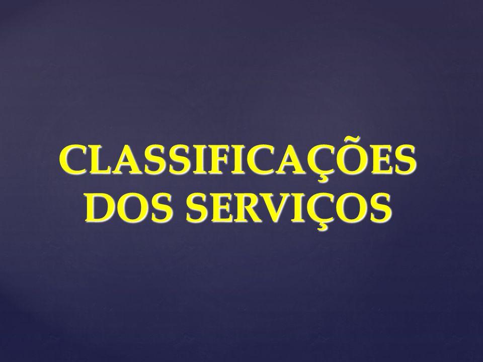 CLASSIFICAÇÕES DOS SERVIÇOS