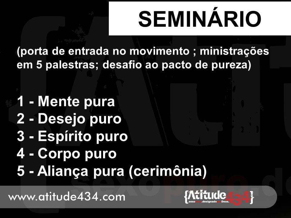 SEMINÁRIO (porta de entrada no movimento ; ministrações em 5 palestras; desafio ao pacto de pureza) 1 - Mente pura 2 - Desejo puro 3 - Espírito puro 4