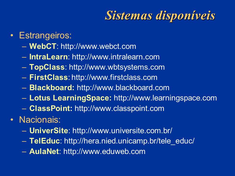 Sistemas disponíveis Estrangeiros: –WebCT: http://www.webct.com –IntraLearn: http://www.intralearn.com –TopClass: http://www.wbtsystems.com –FirstClass: http://www.firstclass.com –Blackboard: http://www.blackboard.com –Lotus LearningSpace: http://www.learningspace.com –ClassPoint: http://www.classpoint.com Nacionais: –UniverSite: http://www.universite.com.br/ –TelEduc: http://hera.nied.unicamp.br/tele_educ/ –AulaNet: http://www.eduweb.com