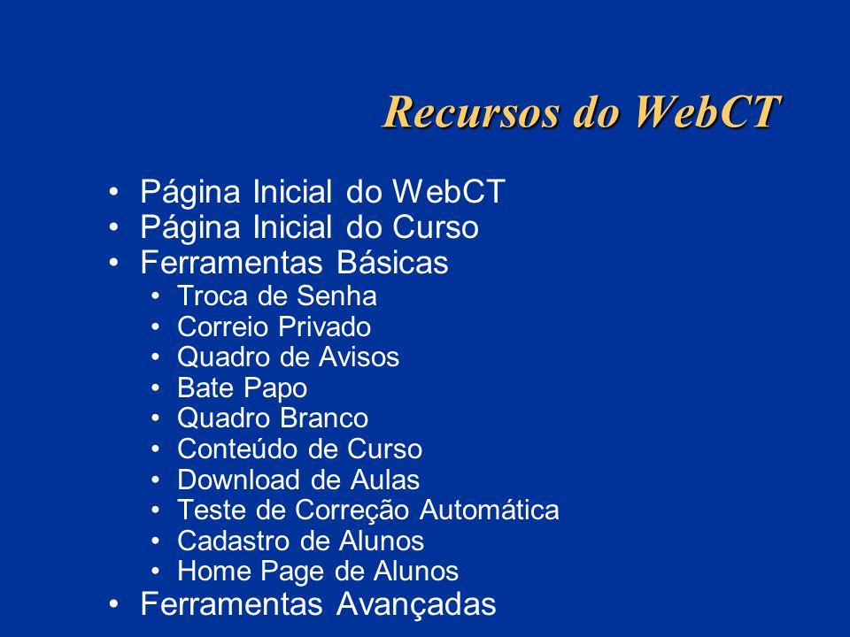 Recursos do WebCT Página Inicial do WebCT Página Inicial do Curso Ferramentas Básicas Troca de Senha Correio Privado Quadro de Avisos Bate Papo Quadro Branco Conteúdo de Curso Download de Aulas Teste de Correção Automática Cadastro de Alunos Home Page de Alunos Ferramentas Avançadas