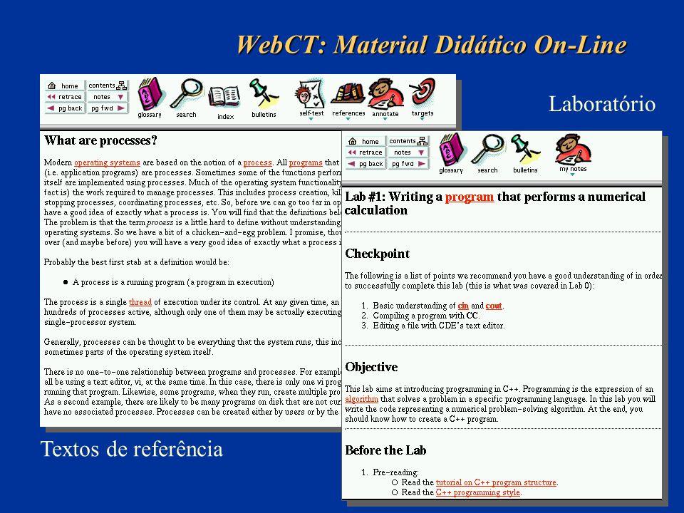 WebCT: Material Didático On-Line Textos de referência Laboratório