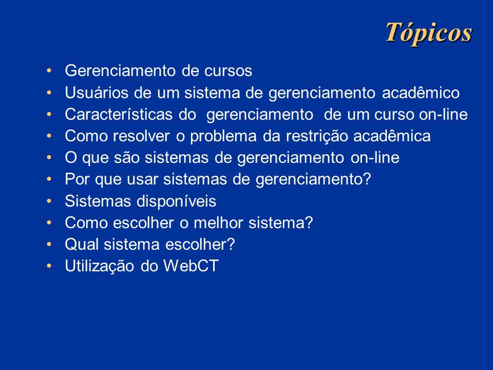 Tópicos Gerenciamento de cursos Usuários de um sistema de gerenciamento acadêmico Características do gerenciamento de um curso on-line Como resolver o problema da restrição acadêmica O que são sistemas de gerenciamento on-line Por que usar sistemas de gerenciamento.