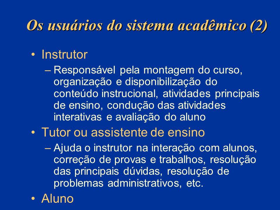 Os usuários do sistema acadêmico (2) Instrutor –Responsável pela montagem do curso, organização e disponibilização do conteúdo instrucional, atividade